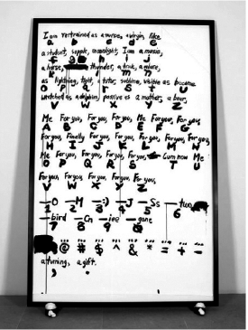 Sade for Fonts Sake, Paul Chan 2008, ink on paper and mixed media