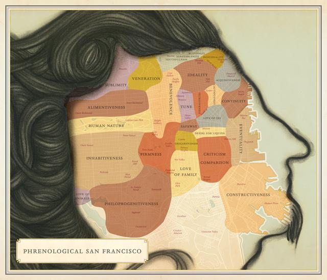 Phrenological San Francisco from Infinite City A San Francisco Atlas.