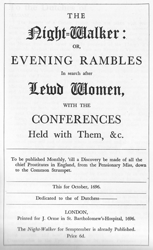 Facsimile of the title-page to the October edition of The Night-Walker: Or, Evening Rambles in Search after Lewd Women, with the Conferences Held with Them
